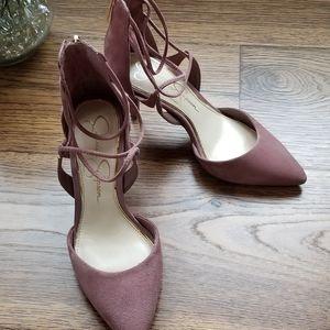 Jessica Simpson Mauve Suede T-Strap Sandal